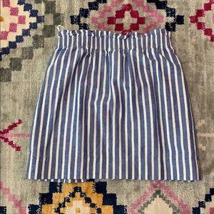 J crew linen blue and white stripe mini skirt